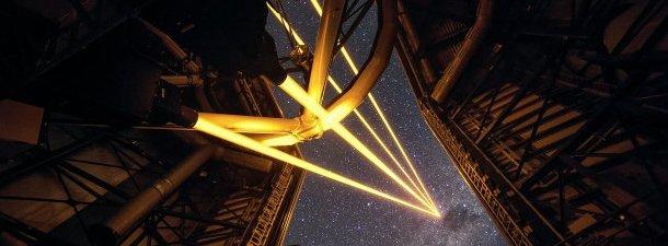 Quatro lasers formam a estrela artificial mais brilhante no Chile