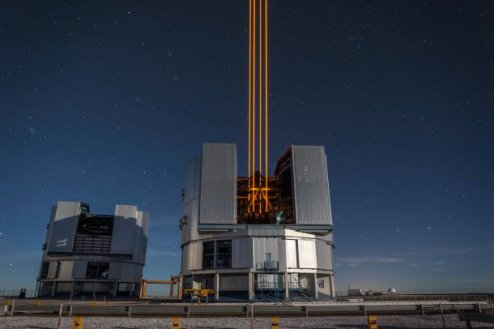 On 26 April 2016 an event at ESO's Paranal Observatory in Chile marked the brilliant first light for the four powerful lasers that form a crucial part of the adaptive optics systems on ESO'sVery Large Telescope. Attendees were treated to a spectacular display of cutting-edge laser technology against the majestic skies of Paranal. These are the most powerful laser guide stars ever used for astronomy and mark the first use of multiple laser guide stars at ESO. This spectacular image shows the four beams emerging from the new laser system on Unit Telescope 4 of the VLT.